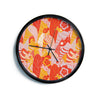 "Akwaflorell ""Fishes Here, Fishes There"" Orange Red Modern Wall Clock"