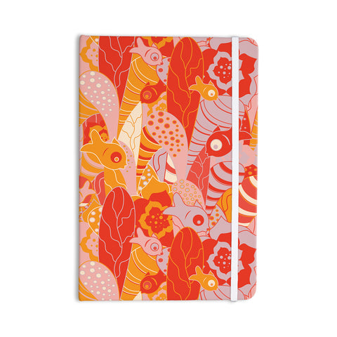 "Akwaflorell ""Fishes Here, Fishes There"" Orange Red Everything Notebook - KESS InHouse  - 1"