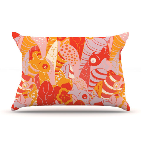 "Akwaflorell ""Fishes Here, Fishes There"" Orange Red Pillow Sham - KESS InHouse  - 1"