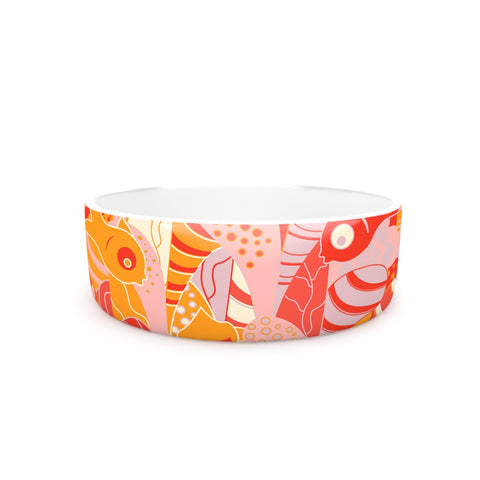 "Akwaflorell ""Fishes Here, Fishes There"" Orange Red Pet Bowl - KESS InHouse"