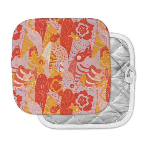 "Akwaflorell ""Fishes Here, Fishes There"" Orange Red Pot Holder"