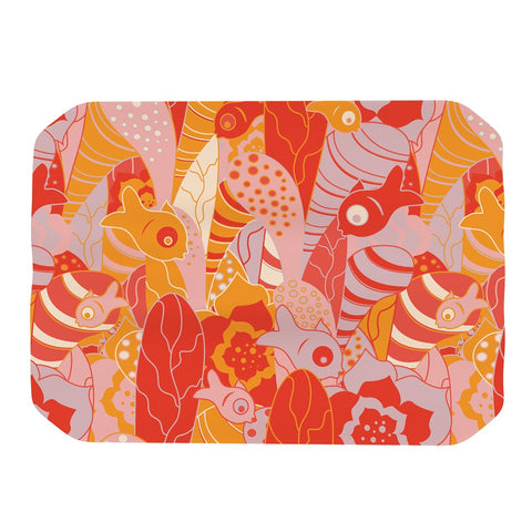 "Akwaflorell ""Fishes Here, Fishes There"" Orange Red Place Mat - KESS InHouse"