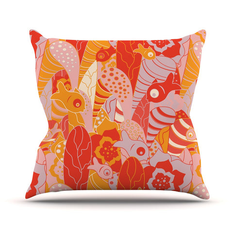 "Akwaflorell ""Fishes Here, Fishes There"" Orange Red Outdoor Throw Pillow - KESS InHouse  - 1"