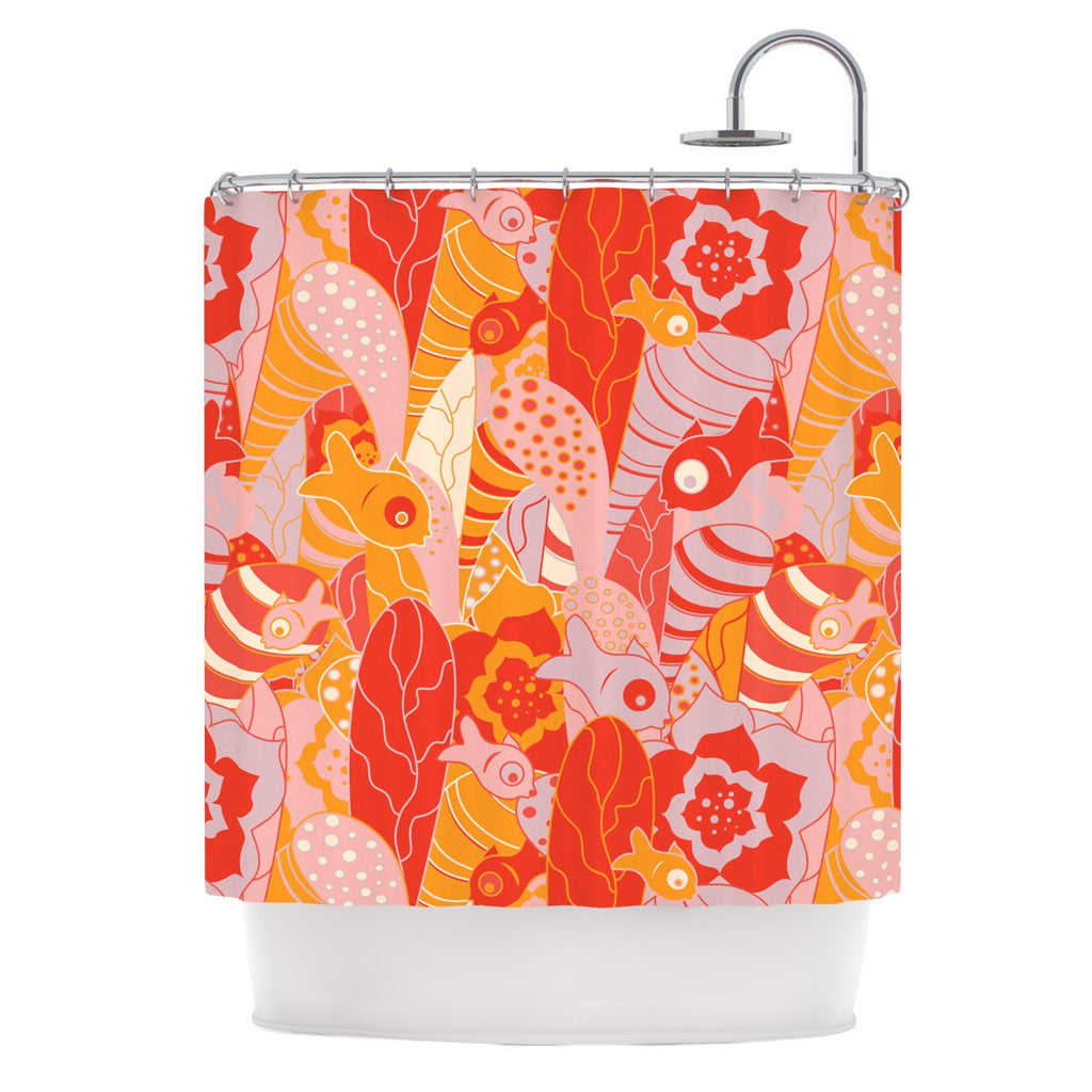 "Akwaflorell ""Fishes Here, Fishes There"" Orange Red Shower Curtain - KESS InHouse"