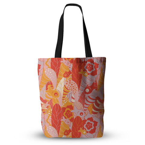 "Akwaflorell ""Fishes Here, Fishes There"" Orange Red Everything Tote Bag - Outlet Item"