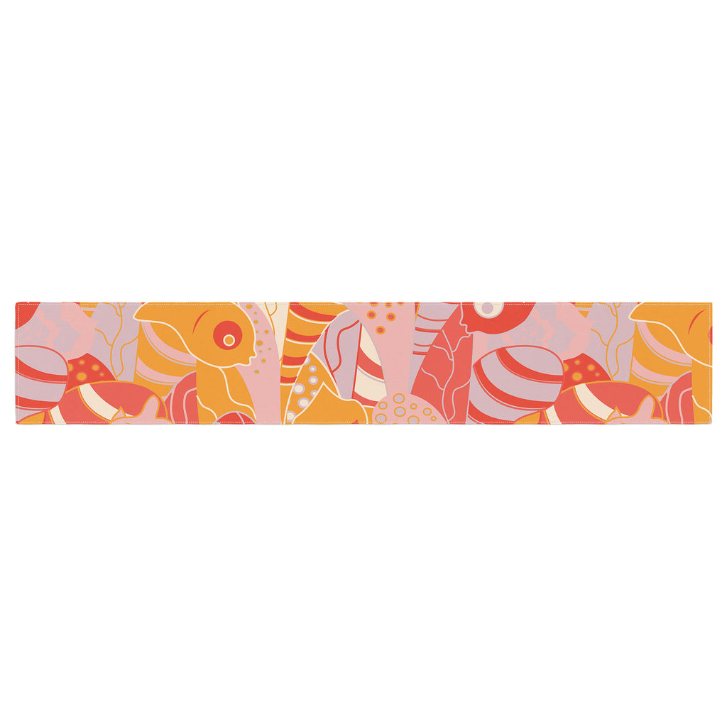 "Akwaflorell ""Fishes Here, Fishes There"" Orange Red Table Runner - KESS InHouse  - 1"