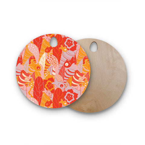 "Akwaflorell ""Fishes Here, Fishes There"" Orange Red Round Wooden Cutting Board"
