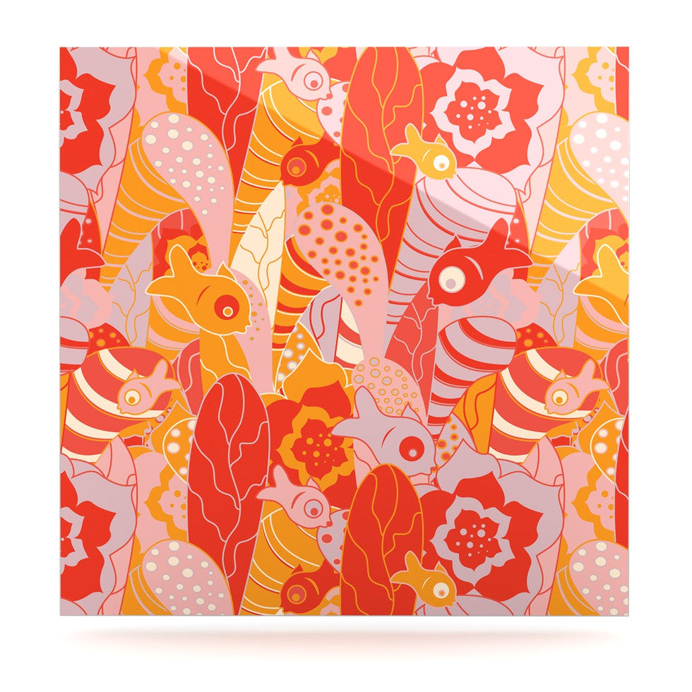 "Akwaflorell ""Fishes Here, Fishes There"" Orange Red Luxe Square Panel - KESS InHouse  - 1"