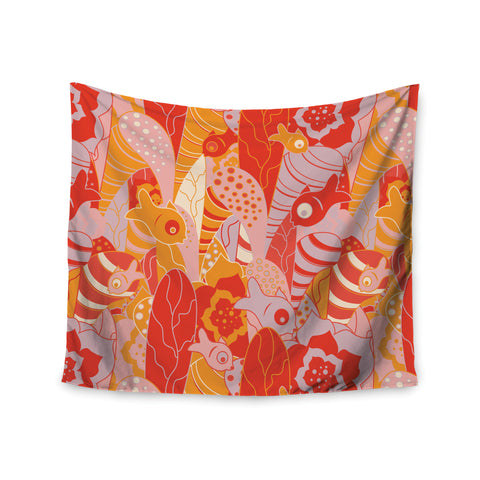 "Akwaflorell ""Fishes Here, Fishes There"" Orange Red Wall Tapestry - KESS InHouse  - 1"