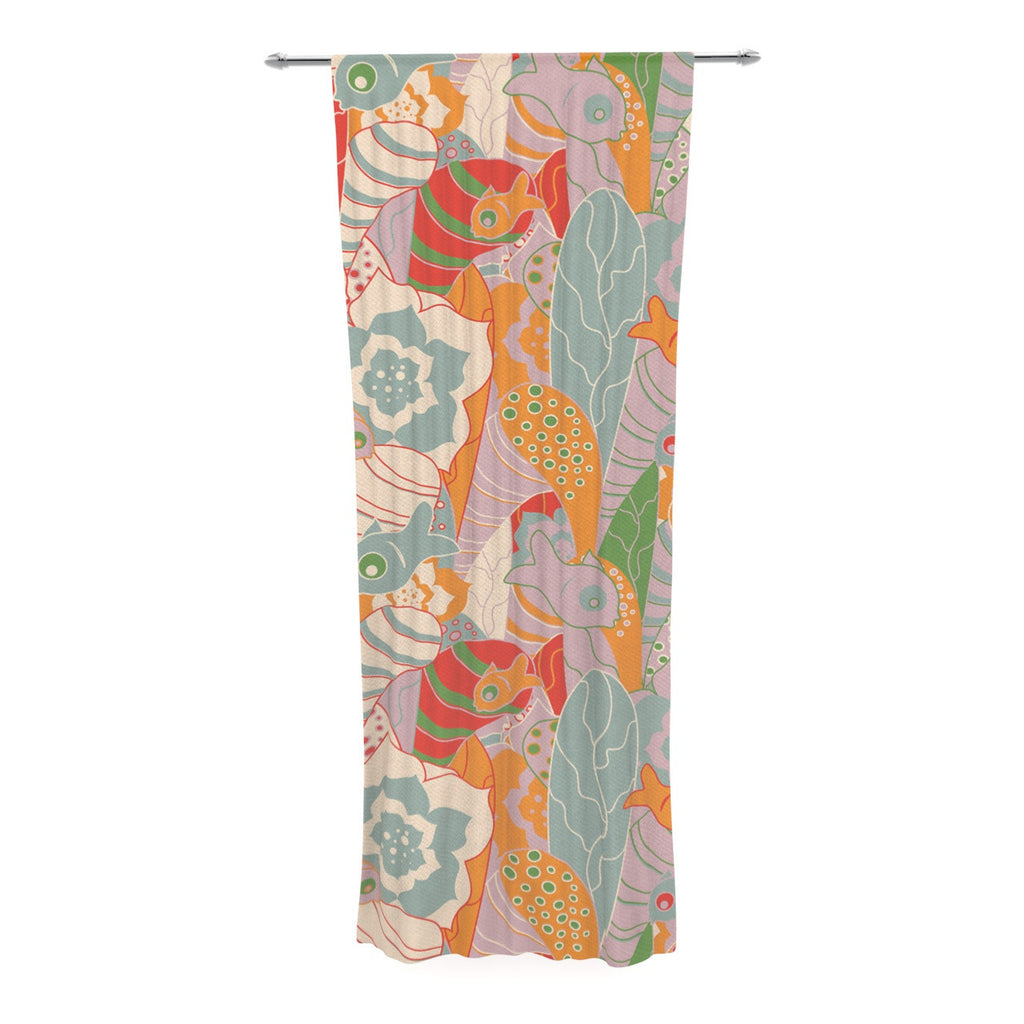 "Akwaflorell ""Fishes Here, Fishes There II"" Multicolor Decorative Sheer Curtain - KESS InHouse  - 1"