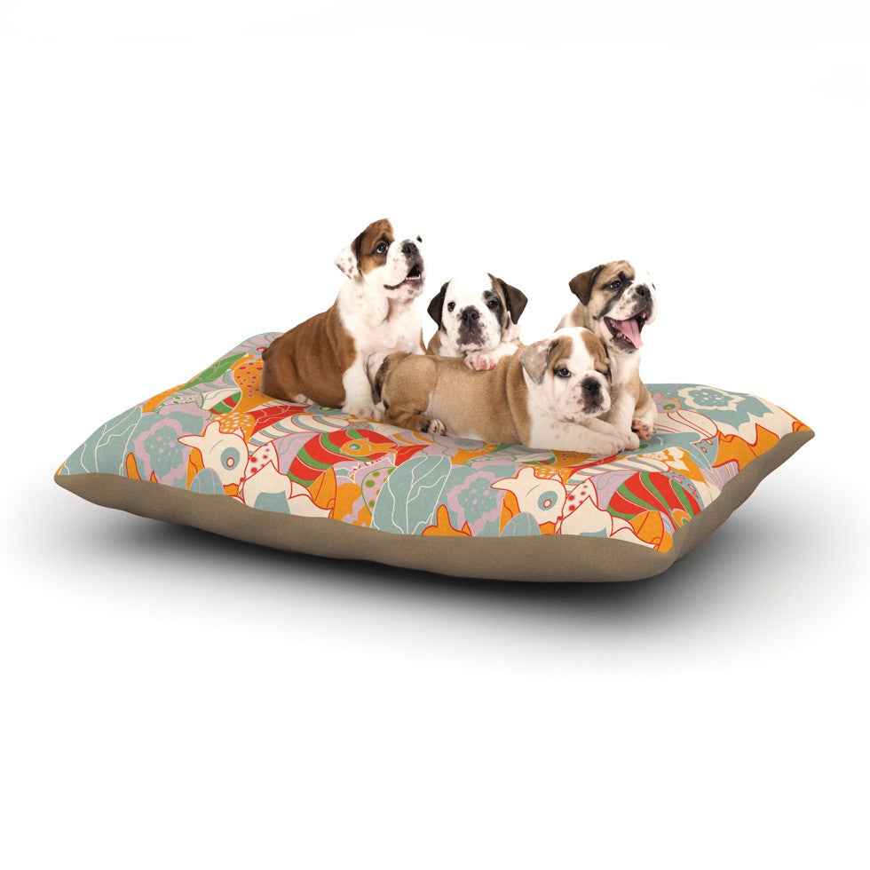 "Akwaflorell ""Fishes Here, Fishes There II"" Multicolor Dog Bed - KESS InHouse  - 1"