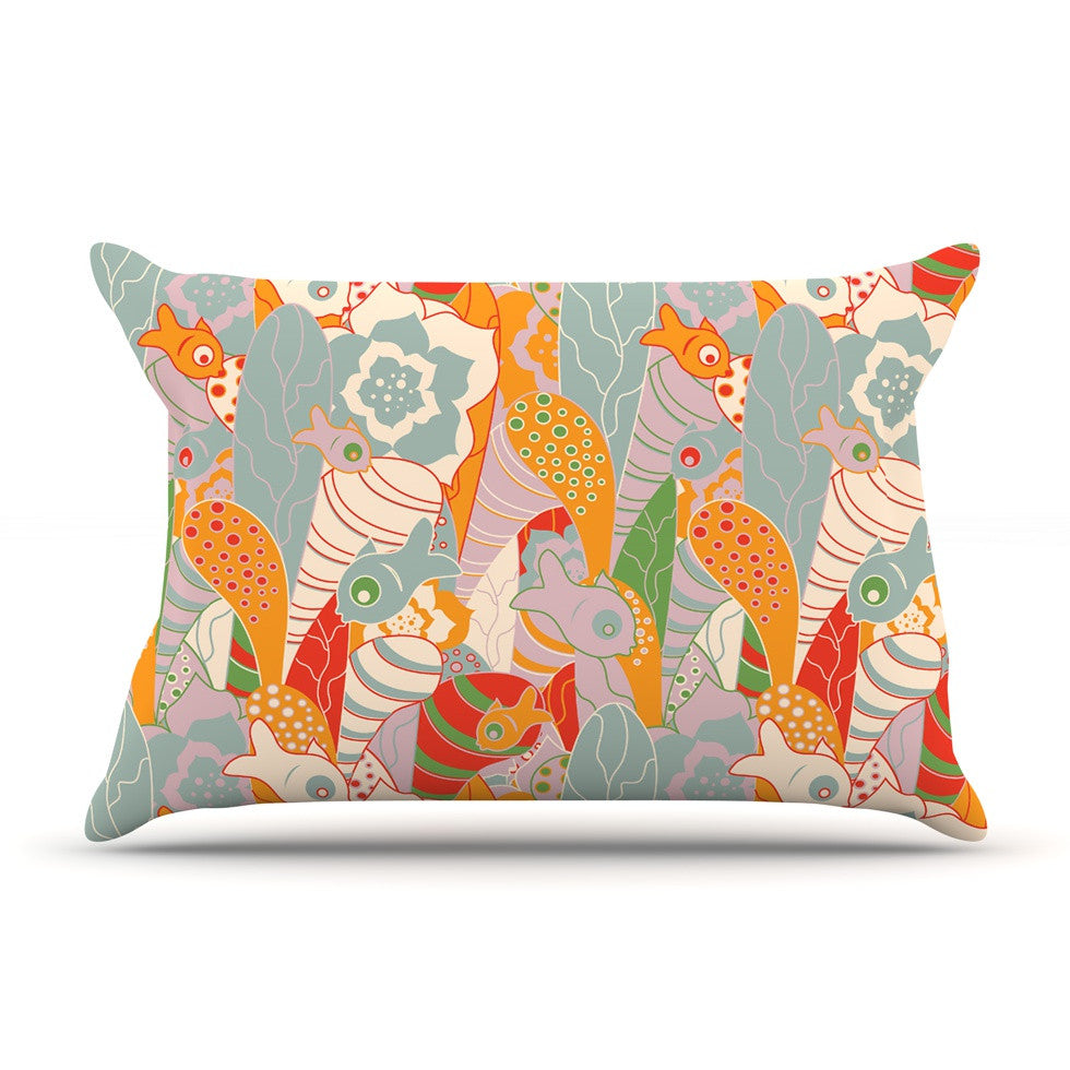 "Akwaflorell ""Fishes Here, Fishes There II"" Multicolor Pillow Sham - KESS InHouse  - 1"