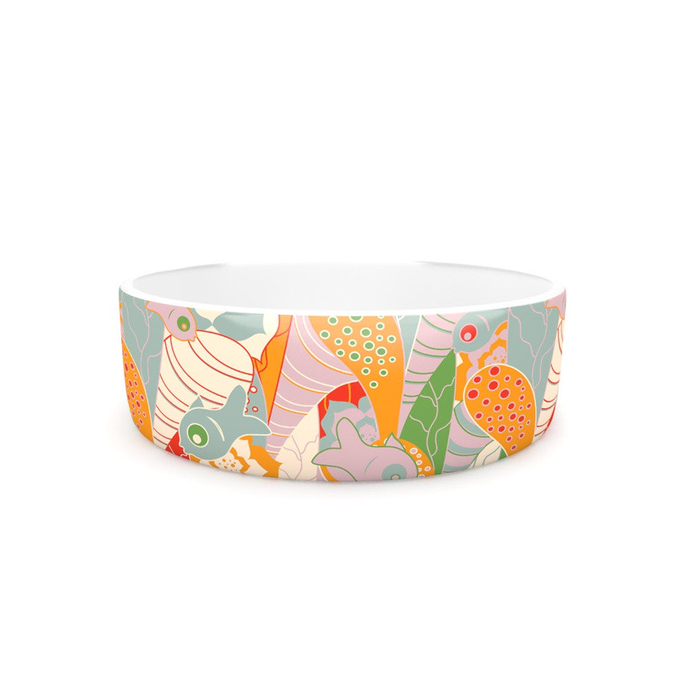 "Akwaflorell ""Fishes Here, Fishes There II"" Multicolor Pet Bowl - KESS InHouse"