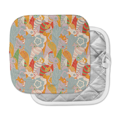 "Akwaflorell ""Fishes Here, Fishes There II"" Multicolor Pot Holder"