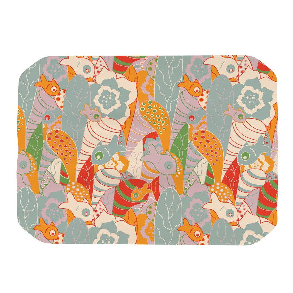 "Akwaflorell ""Fishes Here, Fishes There II"" Multicolor Place Mat - KESS InHouse"
