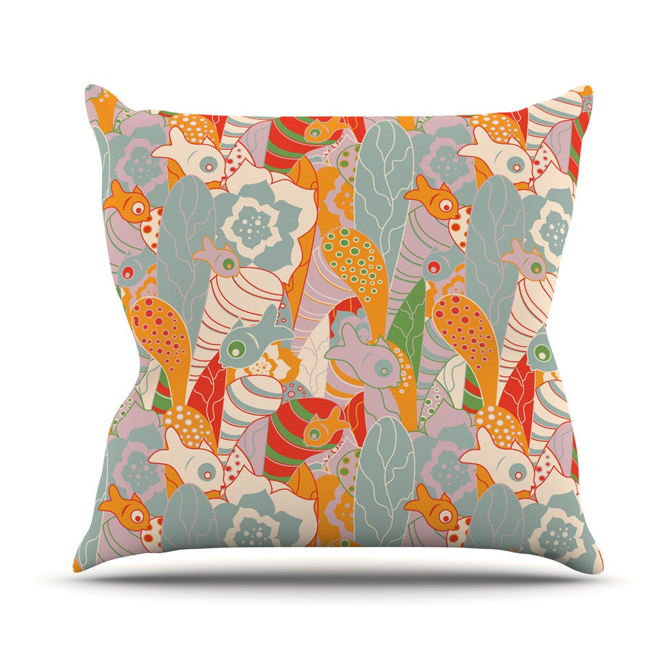 "Akwaflorell ""Fishes Here, Fishes There II"" Multicolor Outdoor Throw Pillow - KESS InHouse  - 1"