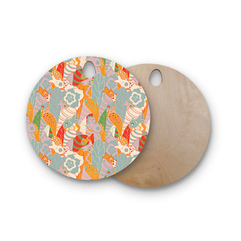 "Akwaflorell ""Fishes Here, Fishes There II"" Multicolor Round Wooden Cutting Board"