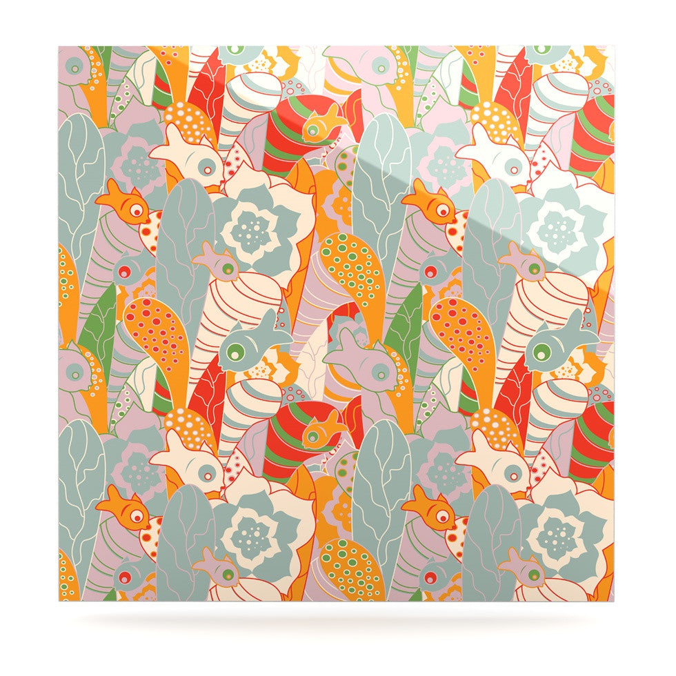 "Akwaflorell ""Fishes Here, Fishes There II"" Multicolor Luxe Square Panel - KESS InHouse  - 1"