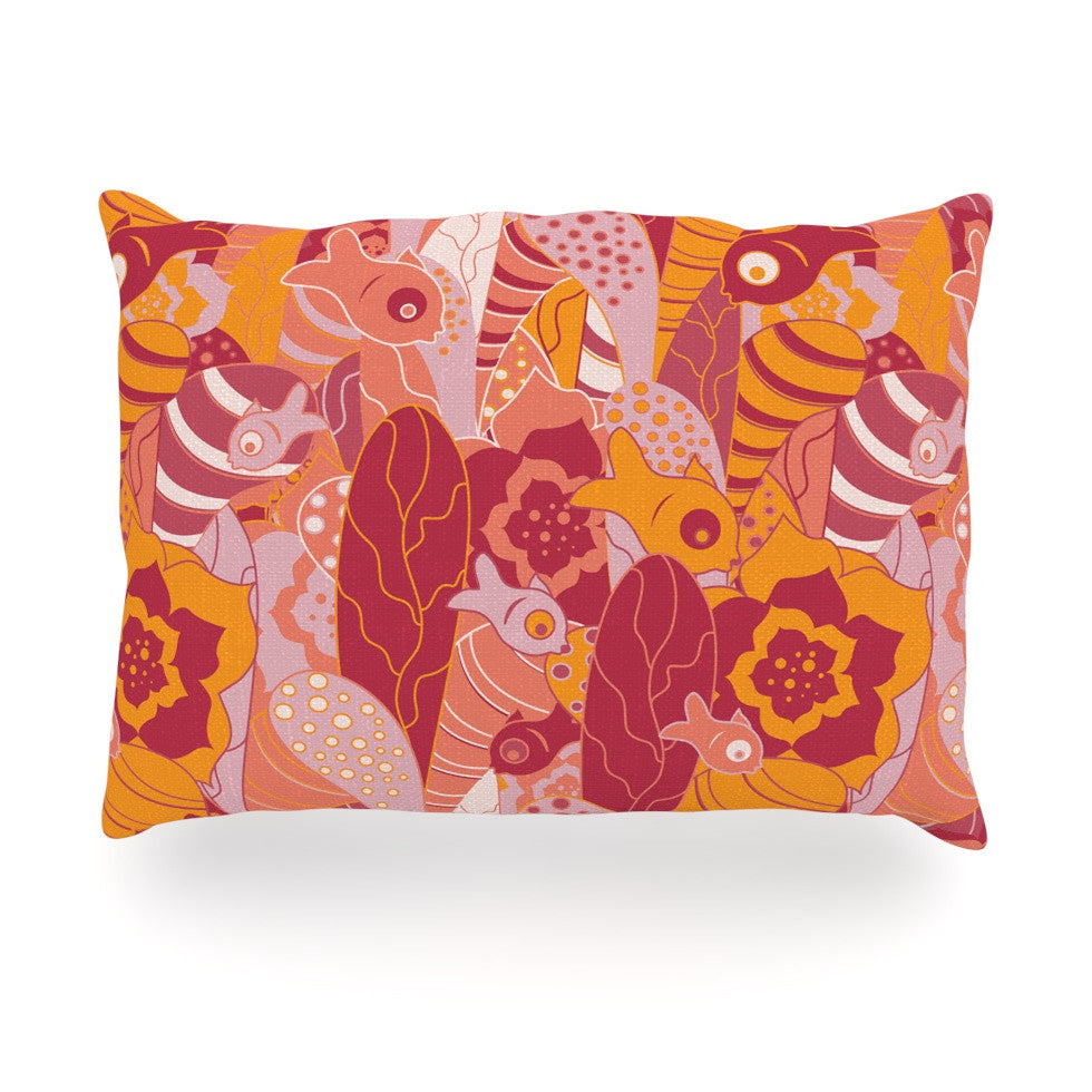 "Akwaflorell ""Fishes Here, Fishes There III"" Pink Orange Oblong Pillow - KESS InHouse"