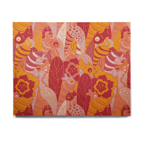 "Akwaflorell ""Fishes Here, Fishes There III"" Pink Orange Birchwood Wall Art - KESS InHouse  - 1"