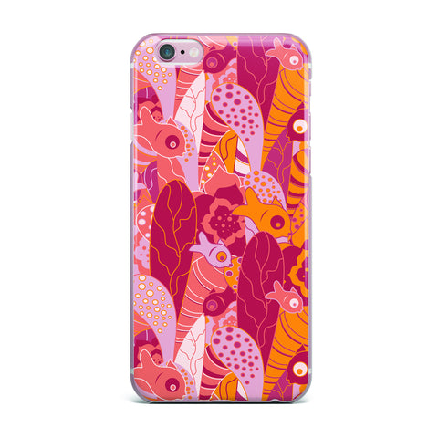 "Akwaflorell ""Fishes Here, Fishes There 3"" Pink Orange iPhone Case - KESS InHouse"