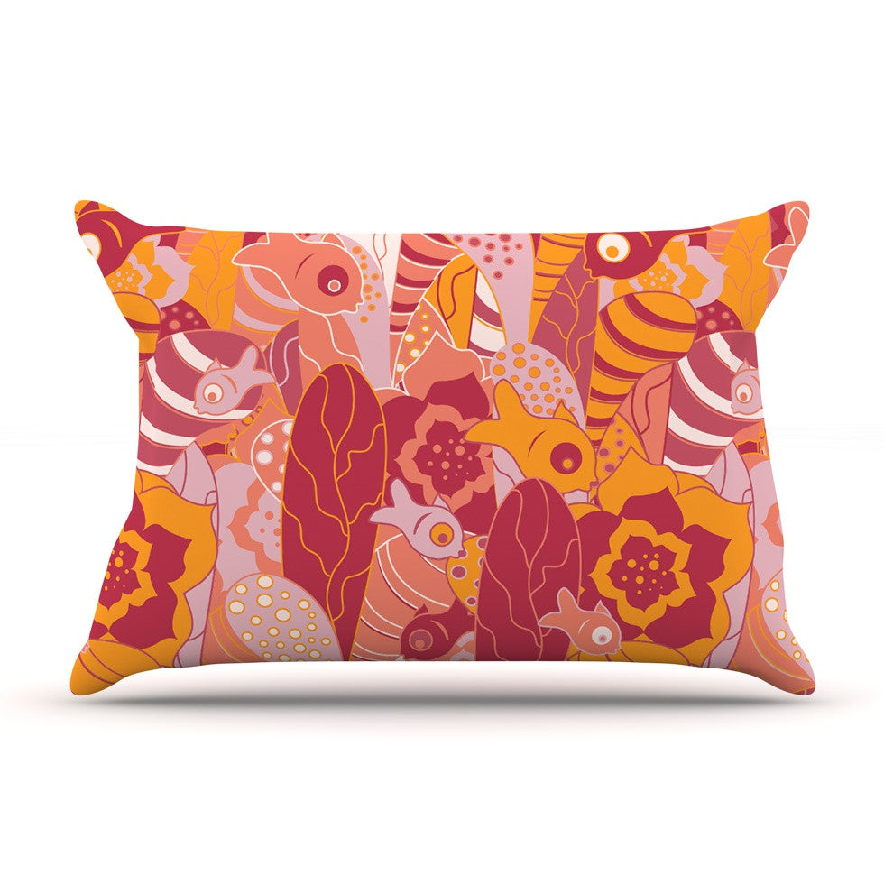"Akwaflorell ""Fishes Here, Fishes There III"" Pink Orange Pillow Sham - KESS InHouse  - 1"