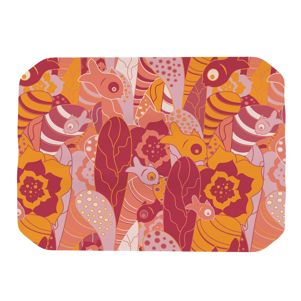 "Akwaflorell ""Fishes Here, Fishes There III"" Pink Orange Place Mat - KESS InHouse"