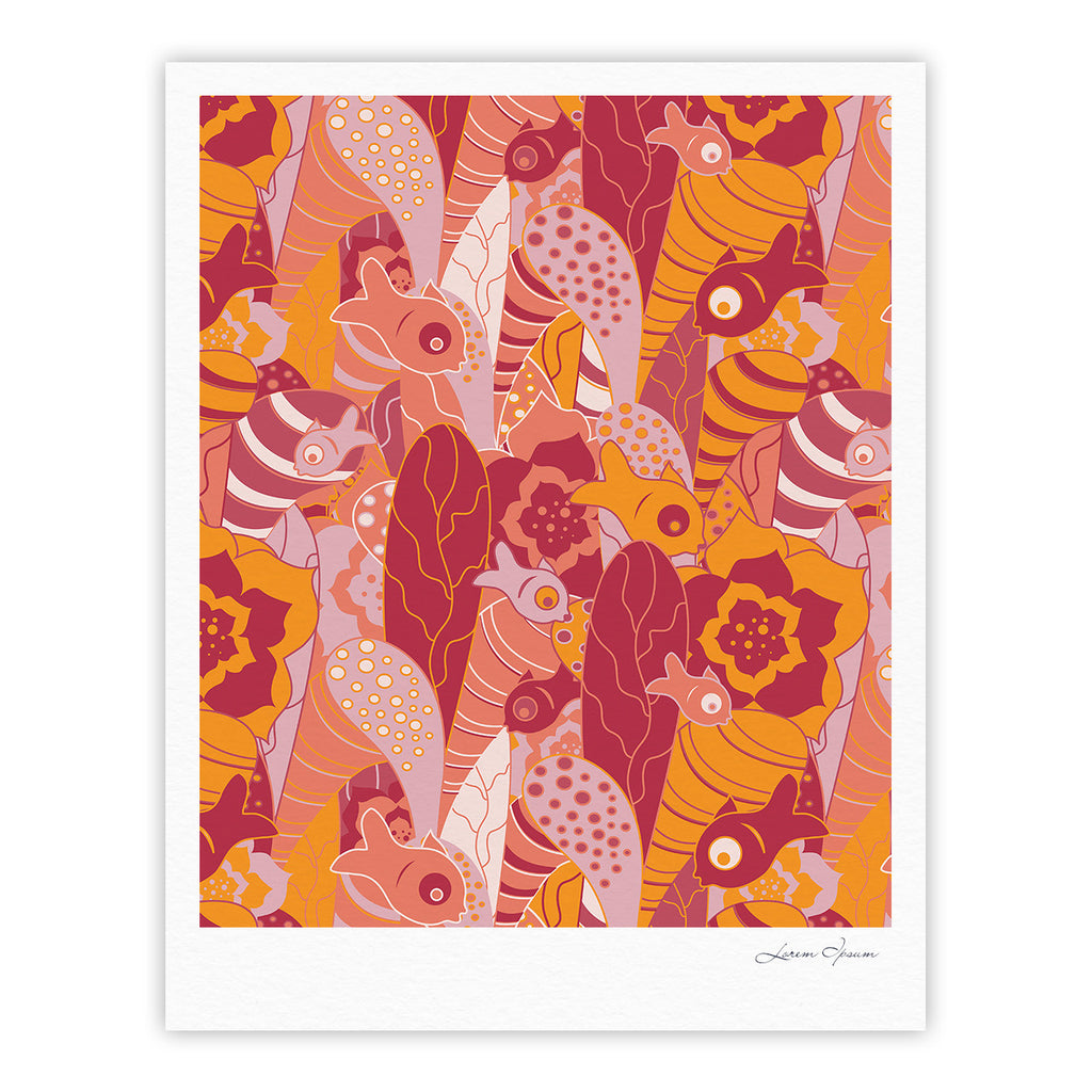 "Akwaflorell ""Fishes Here, Fishes There III"" Pink Orange Fine Art Gallery Print - KESS InHouse"