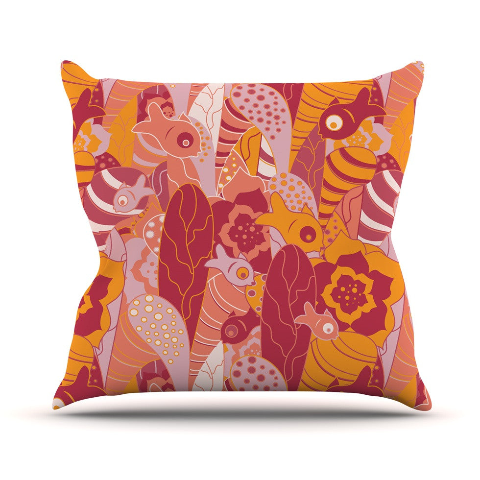 "Akwaflorell ""Fishes Here, Fishes There III"" Pink Orange Outdoor Throw Pillow - KESS InHouse  - 1"