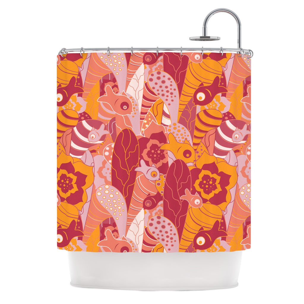 "Akwaflorell ""Fishes Here, Fishes There III"" Pink Orange Shower Curtain - KESS InHouse"