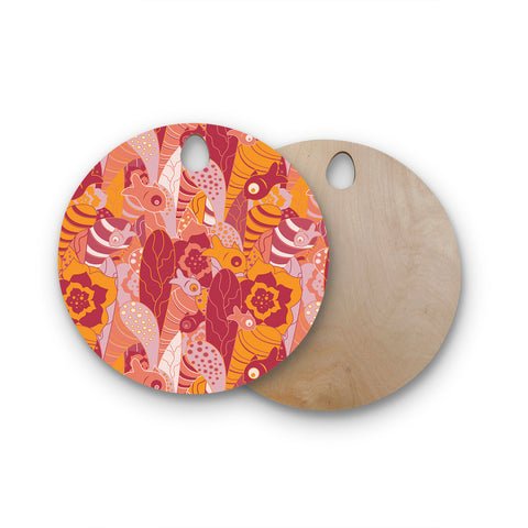 "Akwaflorell ""Fishes Here, Fishes There III"" Pink Orange Round Wooden Cutting Board"