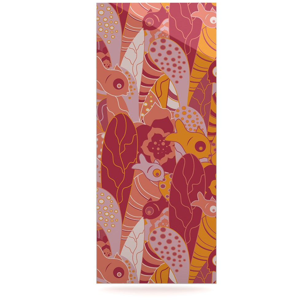 "Akwaflorell ""Fishes Here, Fishes There III"" Pink Orange Luxe Rectangle Panel - KESS InHouse  - 1"