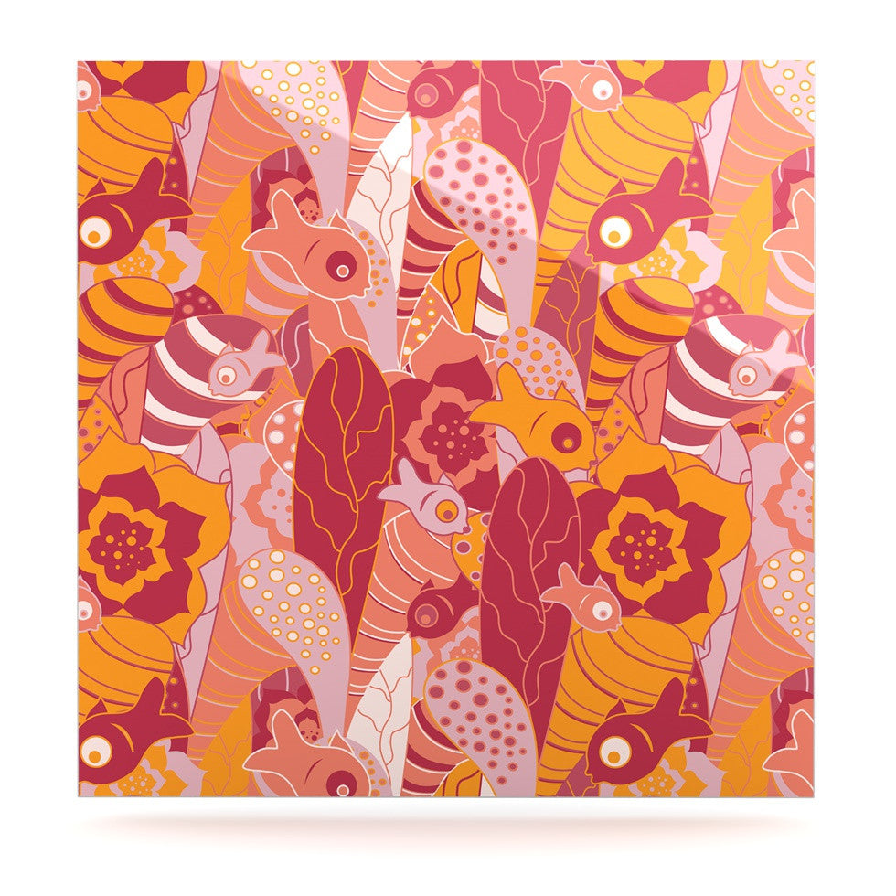 "Akwaflorell ""Fishes Here, Fishes There III"" Pink Orange Luxe Square Panel - KESS InHouse  - 1"