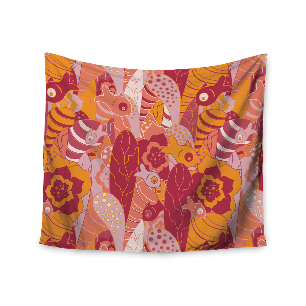 "Akwaflorell ""Fishes Here, Fishes There 3"" Pink Orange Wall Tapestry - KESS InHouse  - 1"