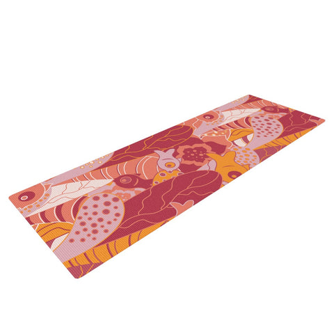 "Akwaflorell ""Fishes Here, Fishes There III"" Pink Orange Yoga Mat - KESS InHouse  - 1"