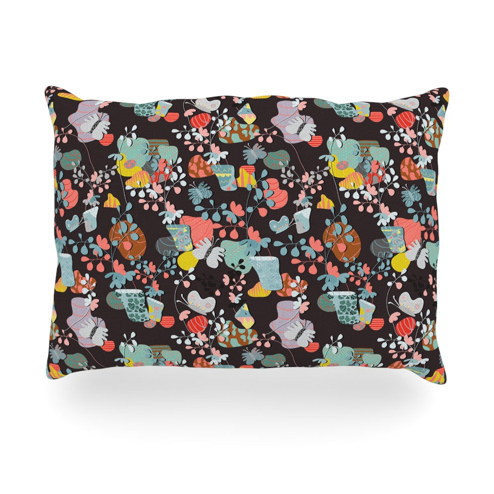 "Akwaflorell ""At Home"" Black Multicolor Oblong Pillow - KESS InHouse"