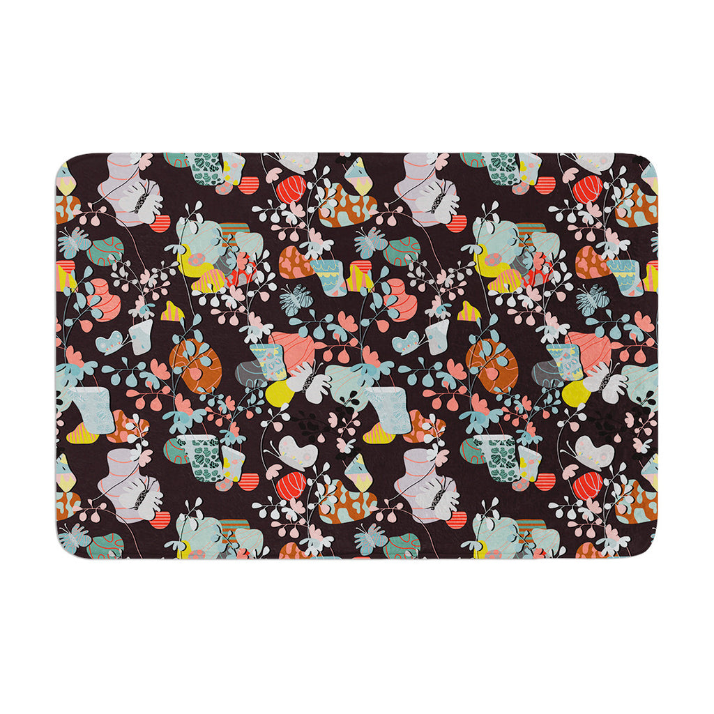 "Akwaflorell ""At Home"" Black Multicolor Memory Foam Bath Mat - KESS InHouse"