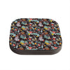 "Akwaflorell ""At Home"" Black Multicolor Coasters (Set of 4)"