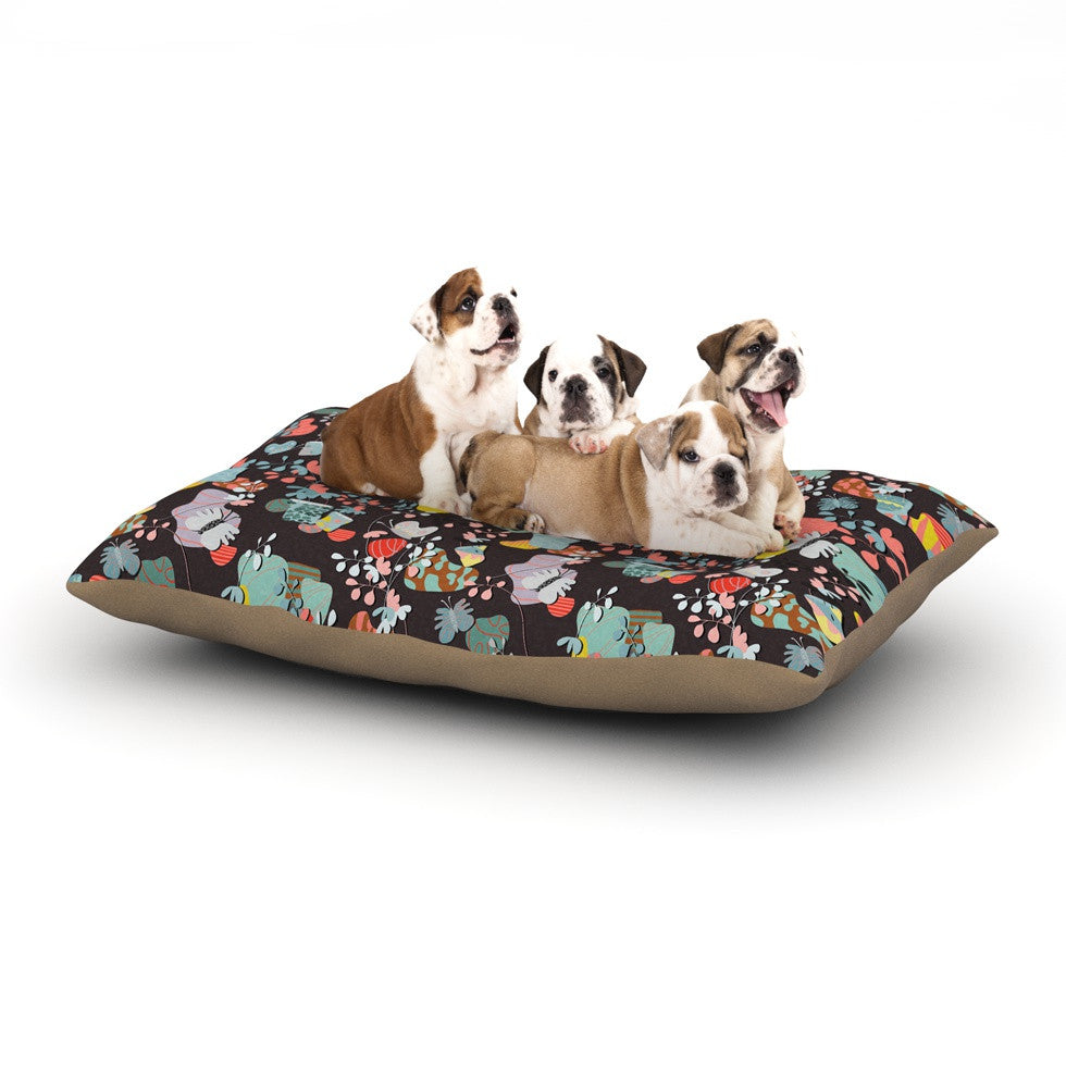 "Akwaflorell ""At Home"" Black Multicolor Dog Bed - KESS InHouse  - 1"