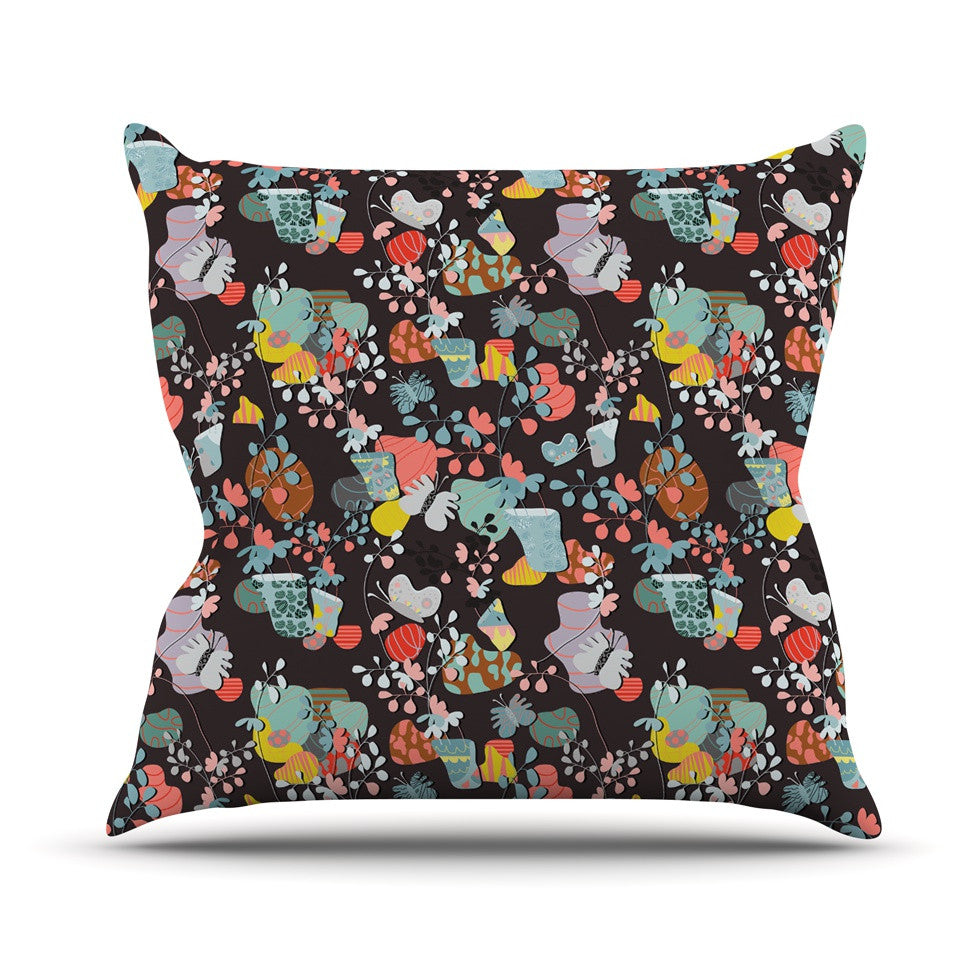 "Akwaflorell ""At Home"" Black Multicolor Throw Pillow - KESS InHouse  - 1"