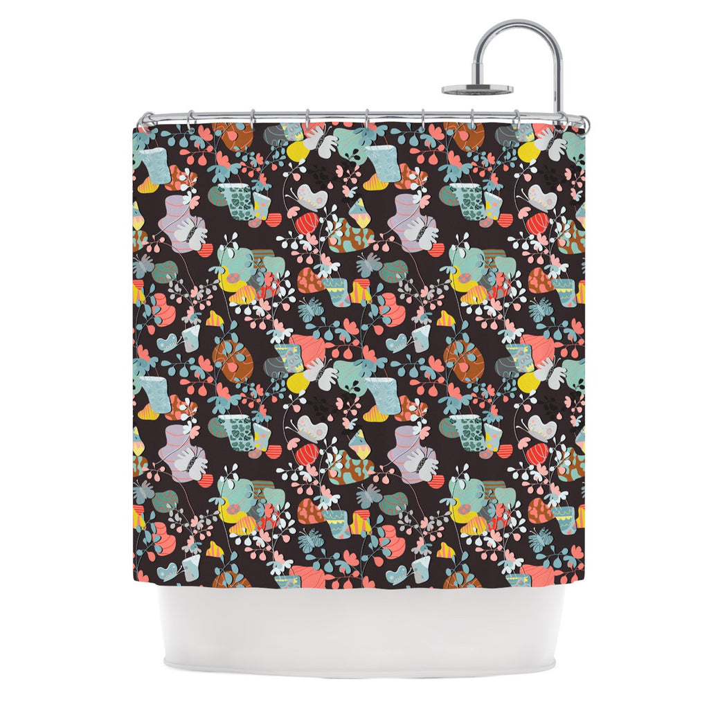 "Akwaflorell ""At Home"" Black Multicolor Shower Curtain - KESS InHouse"
