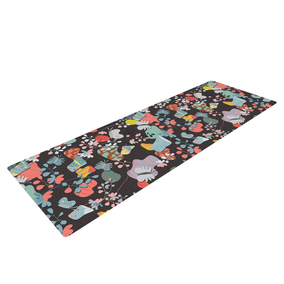 "Akwaflorell ""At Home"" Black Multicolor Yoga Mat - KESS InHouse  - 1"