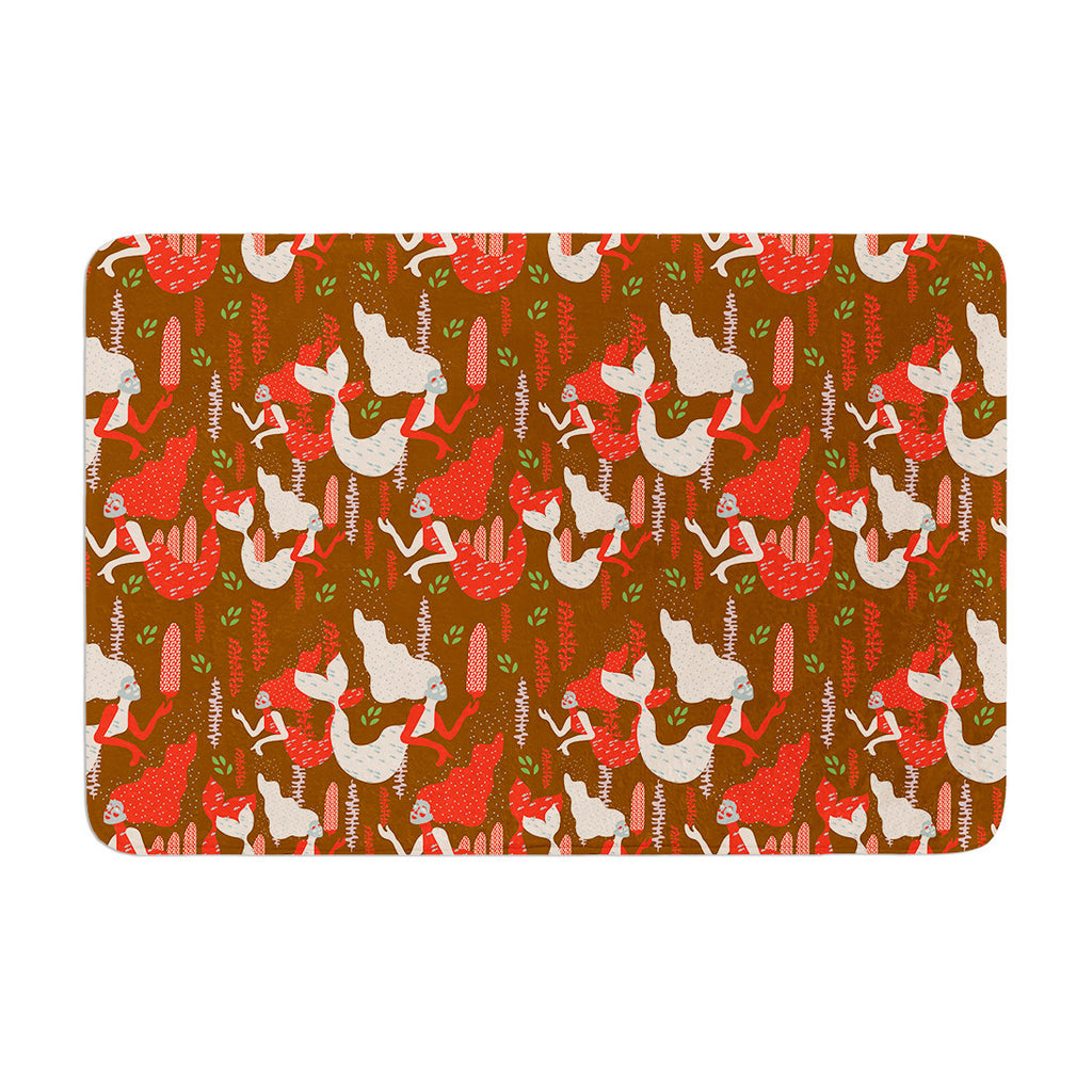 "Akwaflorell ""Mermaids"" Brown Red Memory Foam Bath Mat - KESS InHouse"