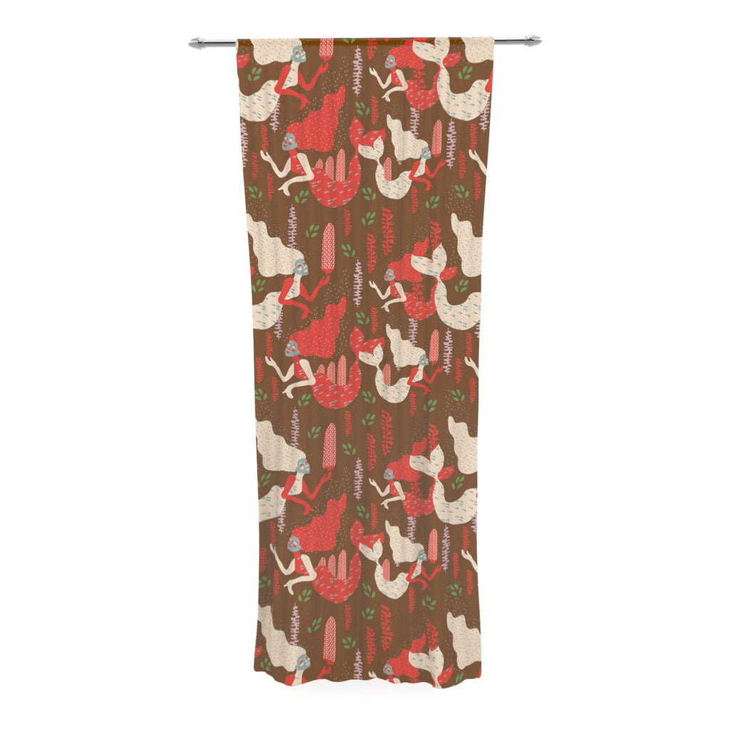 "Akwaflorell ""Mermaids"" Brown Red Decorative Sheer Curtain - KESS InHouse  - 1"