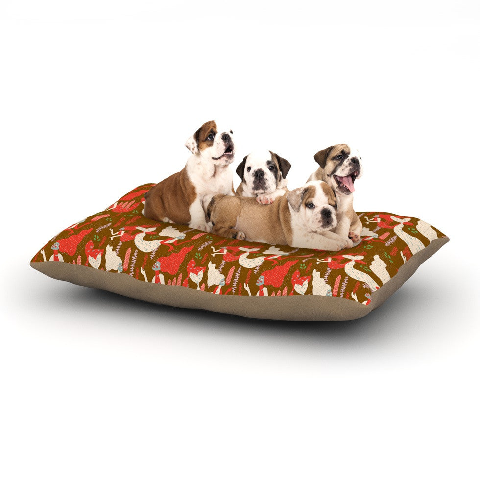 "Akwaflorell ""Mermaids"" Brown Red Dog Bed - KESS InHouse  - 1"