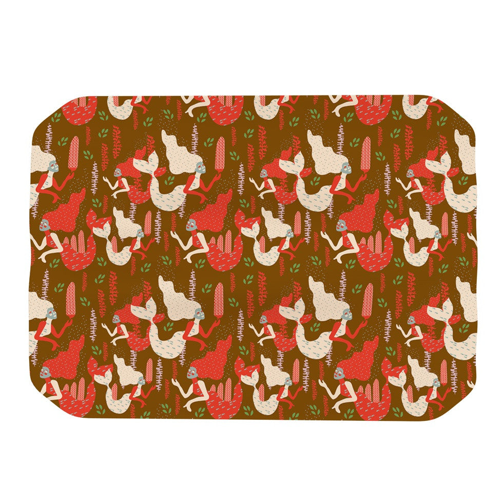 "Akwaflorell ""Mermaids"" Brown Red Place Mat - KESS InHouse"