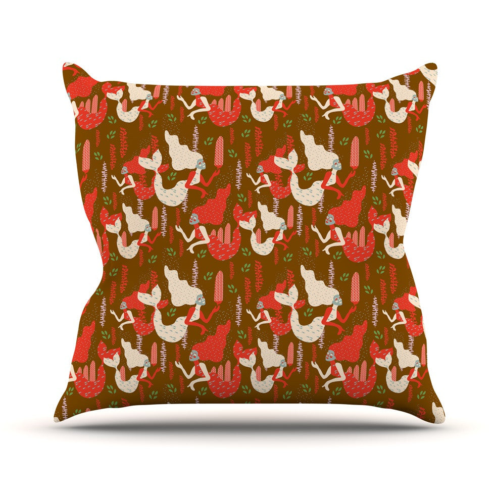 "Akwaflorell ""Mermaids"" Brown Red Outdoor Throw Pillow - KESS InHouse  - 1"