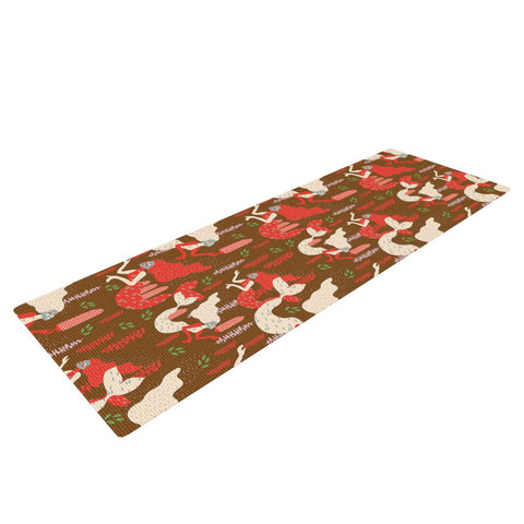 "Akwaflorell ""Mermaids"" Brown Red Yoga Mat - KESS InHouse  - 1"