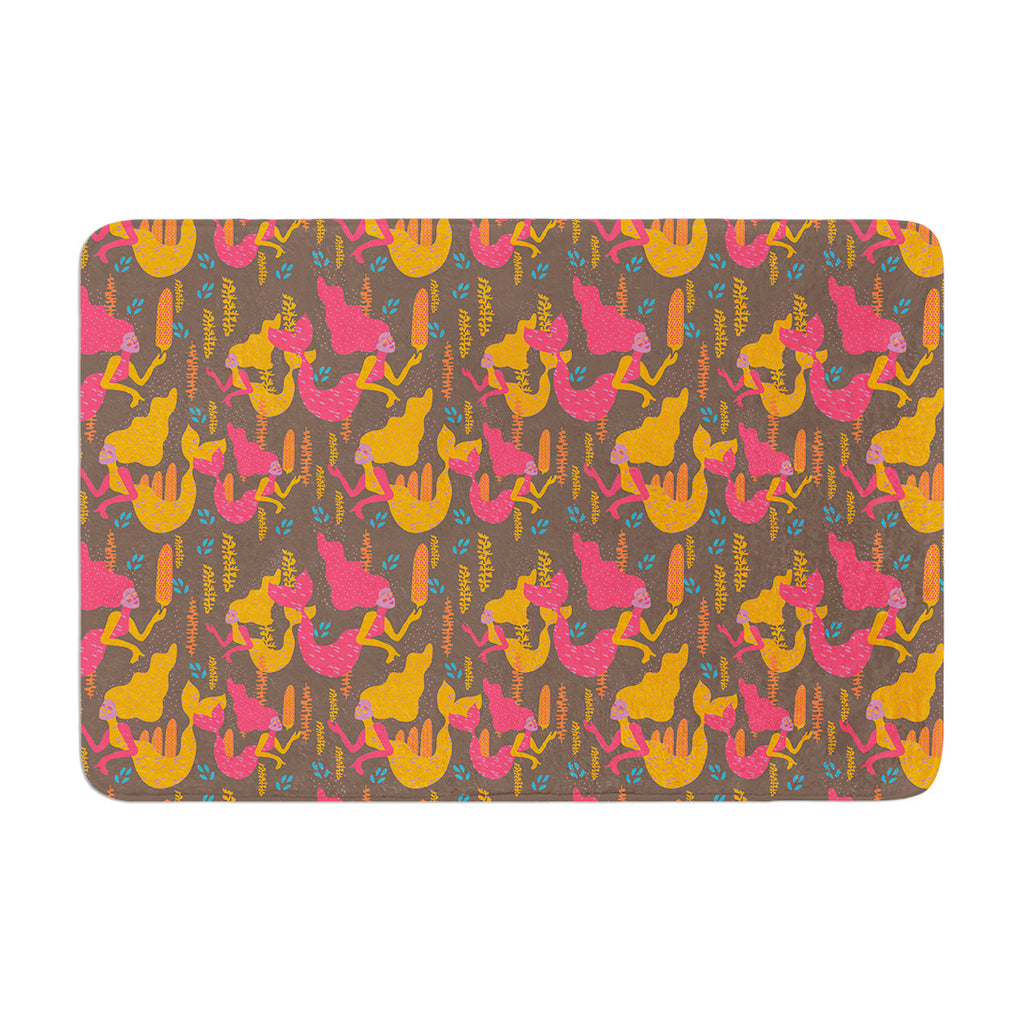 "Akwaflorell ""Mermaids II"" Pink Orange Memory Foam Bath Mat - KESS InHouse"