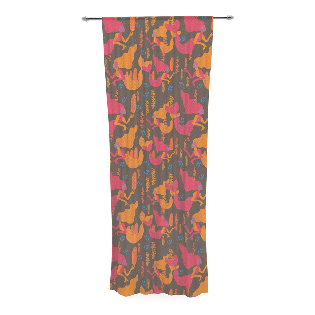 "Akwaflorell ""Mermaids II"" Pink Orange Decorative Sheer Curtain - KESS InHouse  - 1"